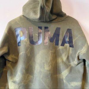 Puma green tie dye bleach dyed cowl neck hoodie